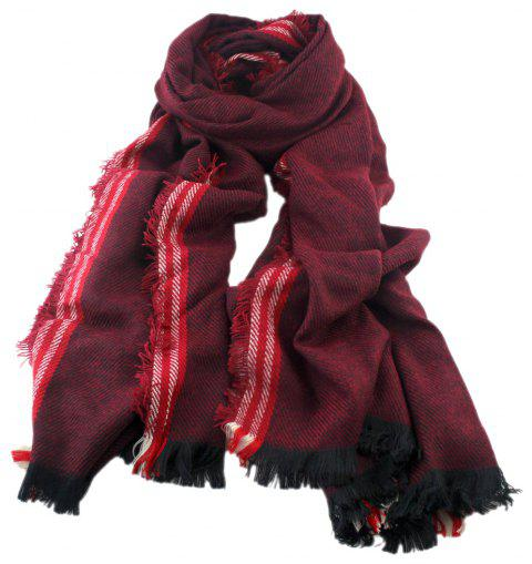 Fashion Geometry Splicing Tassels Long Scarf - multicolor A