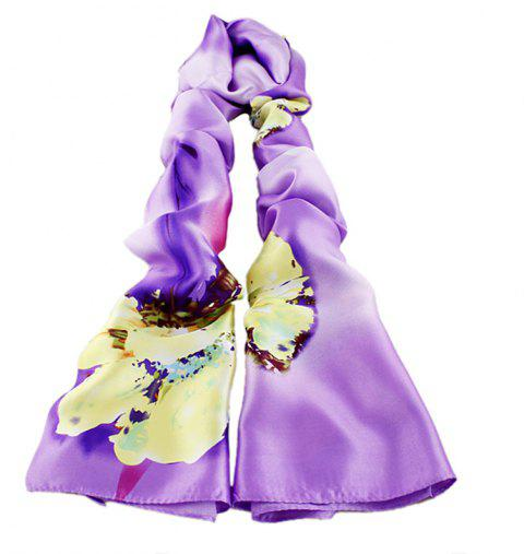 Fashion Flower Printing Emulation Silk Scarf for Women - multicolor D