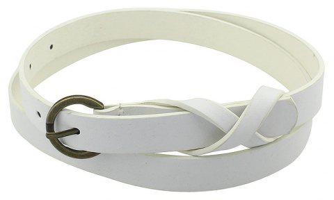 Minimalist PU Leather Adjustable Belt for Women - WHITE
