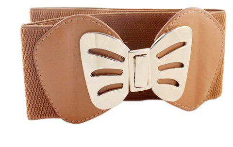 Fashion PU Leather with Metal Hollow-out Bowknot Belt - multicolor A