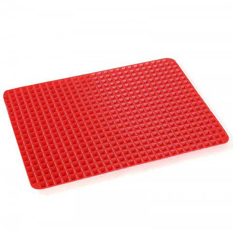 Pyramid Pan Fat Reducing Non Stick Silicone Mould Cooking Oven Baking Tray Mat - RED