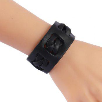 Fashion Accessories  Personality Three Strands Woven Leather Bracelet - BLACK