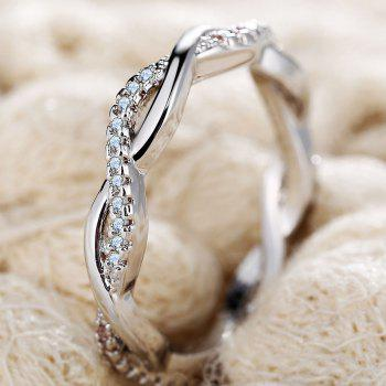 Simple and Stylish Diamond and Twist Couple Ring - SILVER US SIZE 6