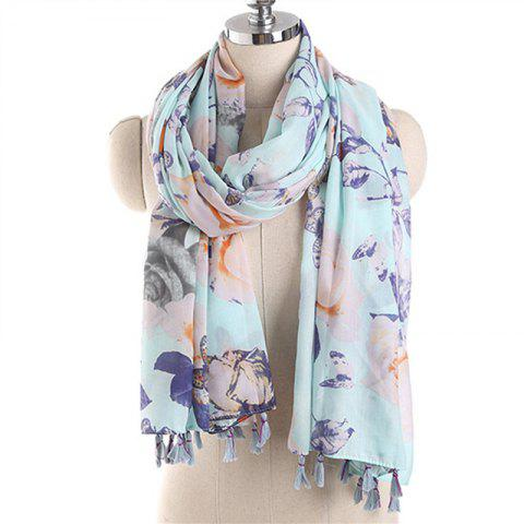 Summer Fashion Butterfly Pattern Voile Bask Scarf - LIGHT BLUE