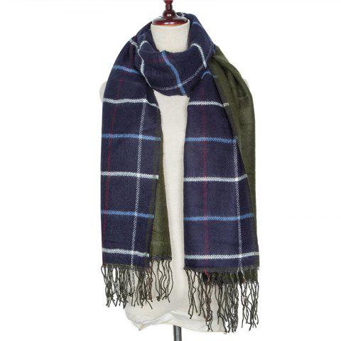 Autumn and Winter Grid Tassel Imitation of Cashmere Warm Scarf - LAPIS BLUE