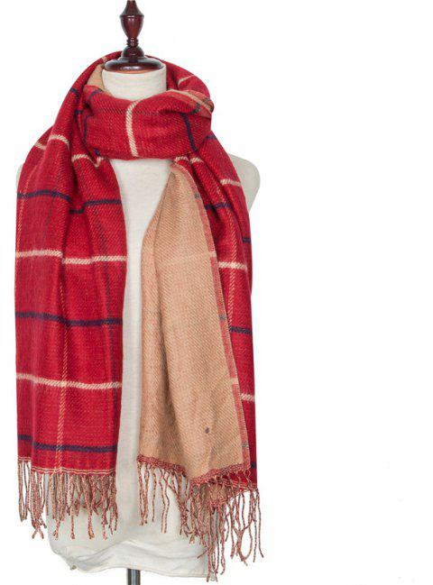 Autumn and Winter Grid Tassel Imitation of Cashmere Warm Scarf - RED