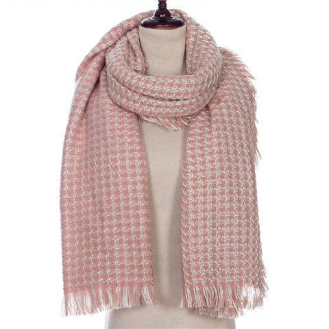 Autumn and Winter The New Small Grid Pattern Imitation of Cashmere Scarf - PINK