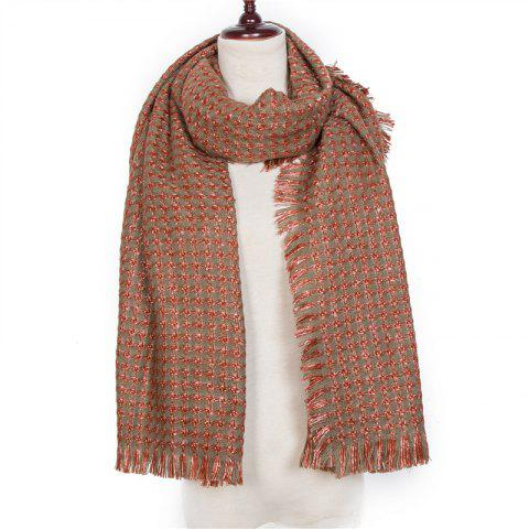 Autumn and Winter The New Small Grid Pattern Imitation of Cashmere Scarf - RUST