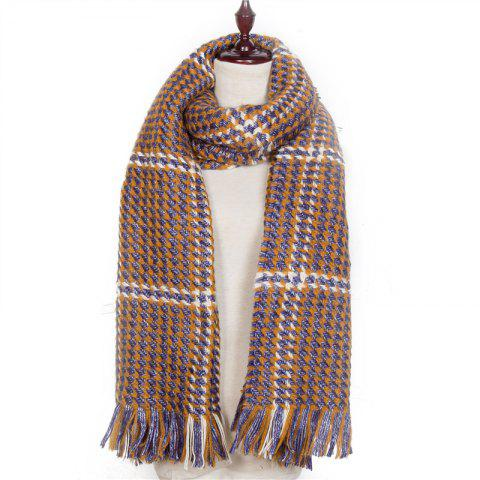 Autumn and Winter The New Small Grid Pattern Imitation of Cashmere Scarf - BROWN