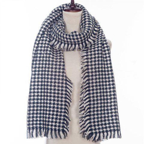 Autumn and Winter The New Small Grid Pattern Imitation of Cashmere Scarf - BLACK