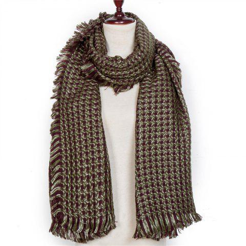 Autumn and Winter The New Small Grid Pattern Imitation of Cashmere Scarf - CAMOUFLAGE GREEN