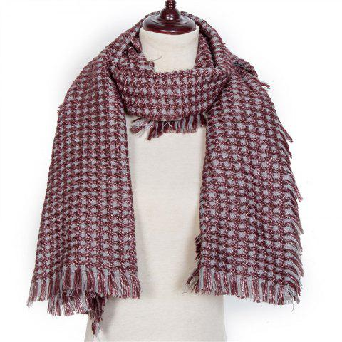 Autumn and Winter The New Small Grid Pattern Imitation of Cashmere Scarf - FIREBRICK