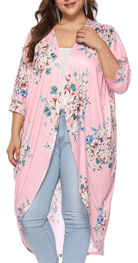 3/4 Length Sleeve Printing Casual Long Cardigan - PIG PINK 2XL