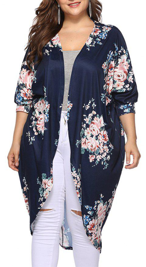 3/4 Length Sleeve Printing Casual Long Cardigan - CADETBLUE XL