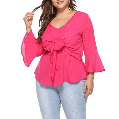 Solid Color V Collar Flare Sleeve Chiffon Blouse - ROSE RED XL