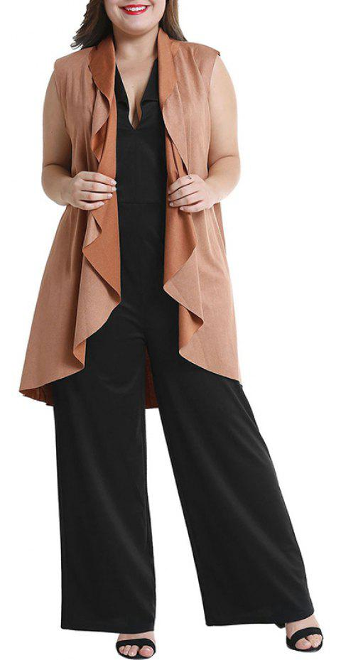 Solid Color Sleeveless Waistcoat Cardigan Coat - LIGHT BROWN 2XL