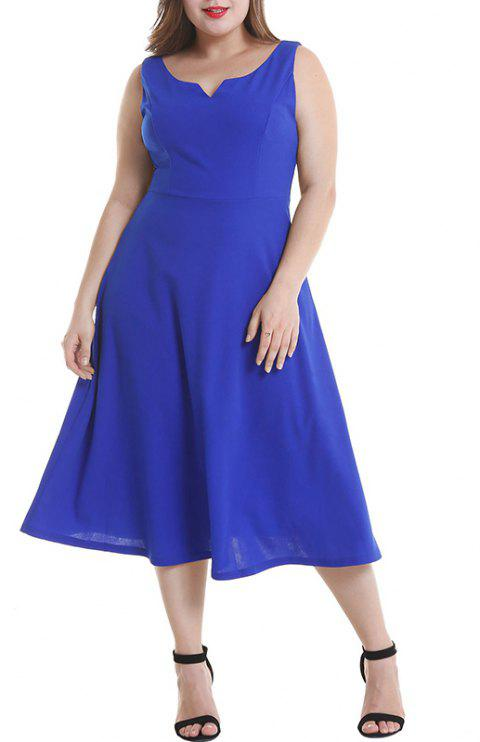 Solid Color Sleeveless Vest Dress - ROYAL BLUE 2XL