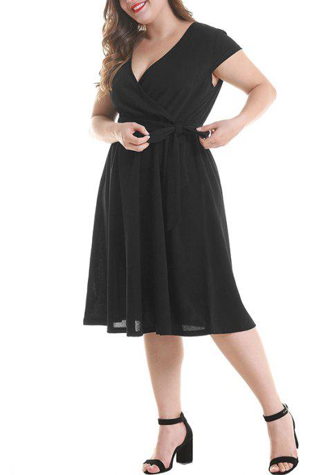 V Colloar Short Sleeve Pleated Tight Waist Dress - BLACK 2XL