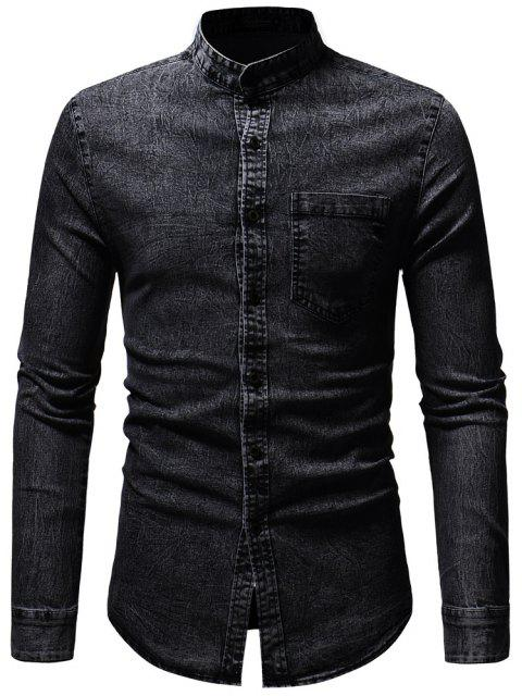 Personality Small Stand Collar Men's Casual Slim Long Sleeve Washed Shirt - BLACK L