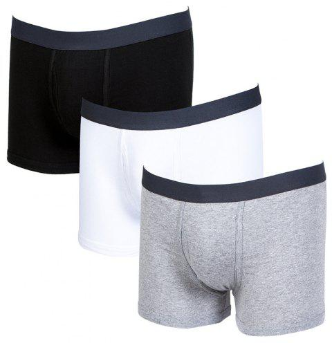 3PCS Slip-pantalon confortable en coton pour homme Boxer - multicolor XL