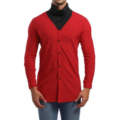Men's High Collar Long Sleeve Shirt - RED L