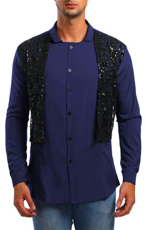 Men's Lace Long Sleeve Shirt - CADETBLUE XL
