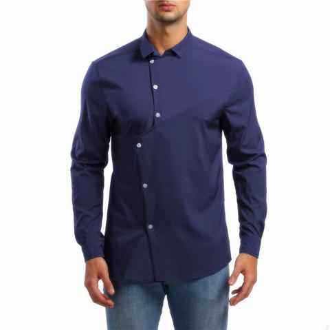 Men's Lapel Asymmetric Long Sleeve Shirt - CADETBLUE XL