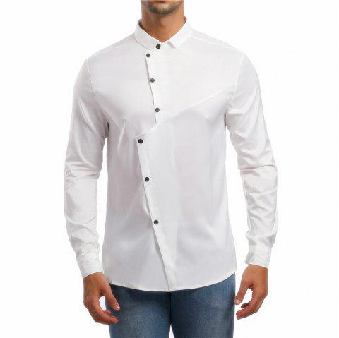Men's Lapel Asymmetric Long Sleeve Shirt - WHITE L