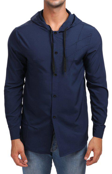 Men's Hooded Solid Color Long Sleeve Shirt - CADETBLUE M