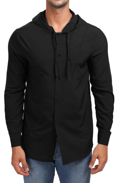 Men's Hooded Solid Color Long Sleeve Shirt - BLACK 2XL