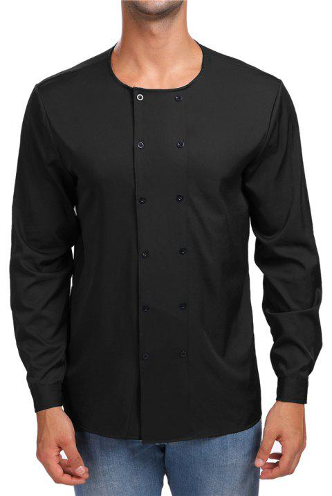 Men's Round Neck Double-Breasted Long-Sleeved Shirt - BLACK S