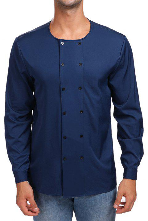 Men's Round Neck Double-Breasted Long-Sleeved Shirt - CADETBLUE M