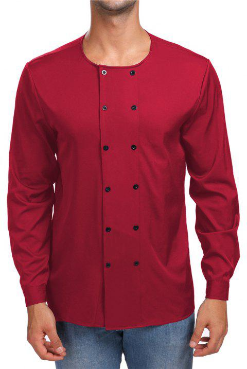 Men's Round Neck Double-Breasted Long-Sleeved Shirt - RED M