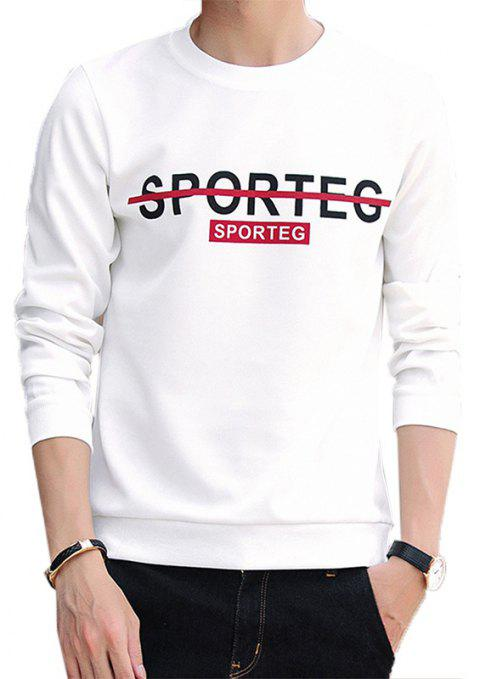 Men's Turtleneck Sweater Round Neck Casual Sports Top - WHITE L