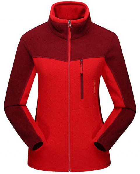 Female Catching Fleece Jacket Outdoor Long-Sleeved Warm Top - RED M