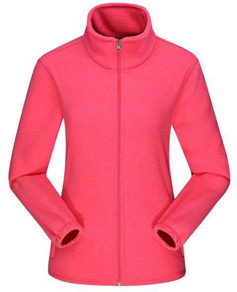 Women'S Jacket Fleece Outdoor Long Sleeve Comfort Top - WATERMELON PINK 4XL