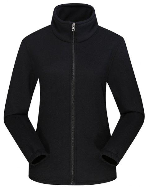 Women'S Jacket Fleece Outdoor Long Sleeve Comfort Top - BLACK 4XL