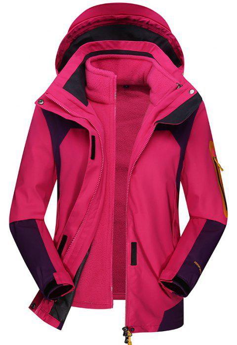 Women's Outdoor Jacket Fleece Warm Sports Top - ROSE RED M