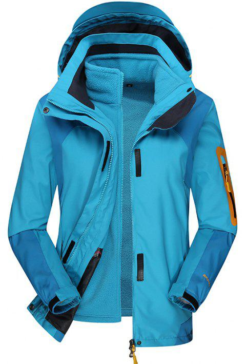 Women's Outdoor Jacket Fleece Warm Sports Top - BLUE KOI L