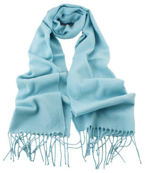 Fashion Minimalist Tassel Long Cashmere Scarf - LIGHT BLUE