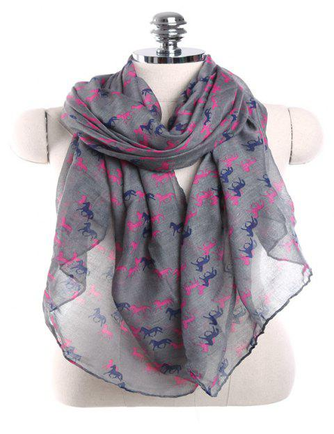 Fashion Million Horses Motif Galop Soleil Protection Paris Gauze Scarf - Jet gris