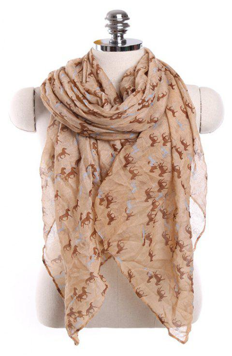 Fashion Million Horses Motif Galop Soleil Protection Paris Gauze Scarf - Orange d'Or