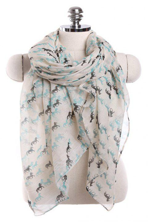 Fashion Million Horses Gallop Pattern Sun Protection Paris Gauze Scarf - WHITE