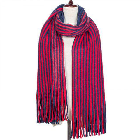 New Fall and Winter Fashion Double Color Stripe Imitation of Cashmere Scarf - ROSE RED