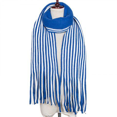 New Fall and Winter Fashion Double Color Stripe Imitation of Cashmere Scarf - BLUE IVY