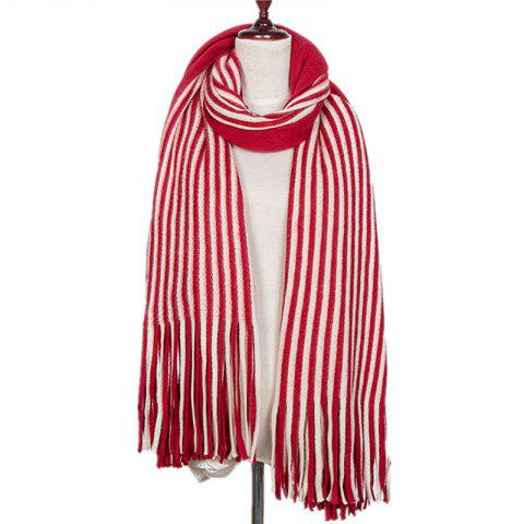 New Fall and Winter Fashion Double Color Stripe Imitation of Cashmere Scarf - RED