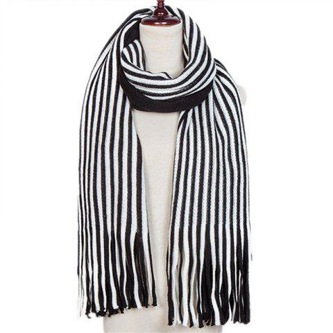 New Fall and Winter Fashion Double Color Stripe Imitation of Cashmere Scarf - BLACK