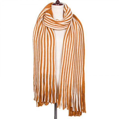 New Fall and Winter Fashion Double Color Stripe Imitation of Cashmere Scarf - YELLOW