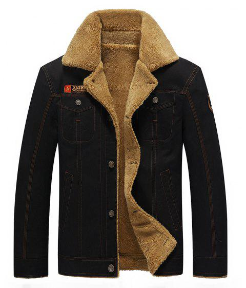 QIQICHEN 77CITY Cotton and Velour Padded Lapel Tooling Jacket - BLACK XL