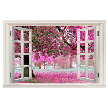 Cherry Blossoms 3D Window Scenery Wall Sticker Home Decor Bedroom Art - PINK